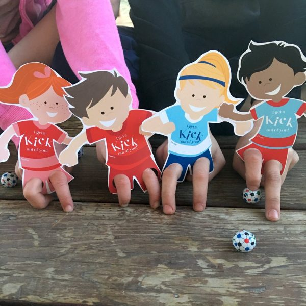 50+ Printable Valentines Day Cards: Soccer Kids Printable Finger Puppet Valentines from Chipper Studios