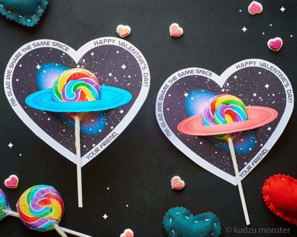 50+ Printable Valentines Day Cards: Space Lollipop Holder Printable Valentine Cards from Kudzu Monster