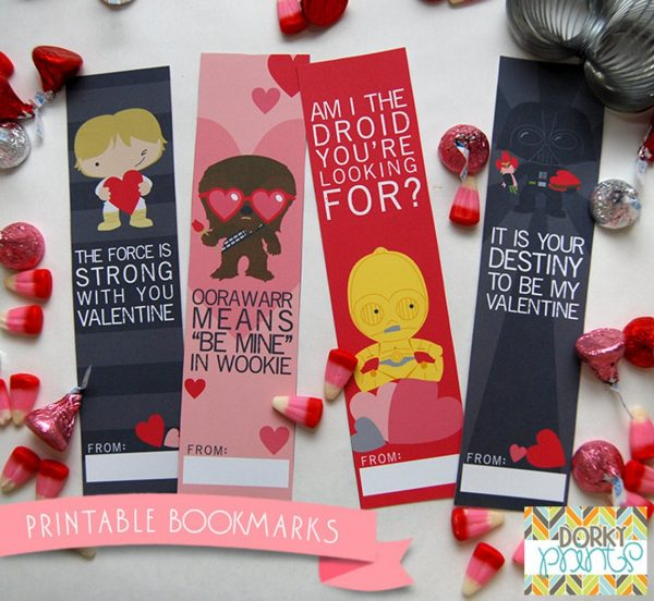 50+ Printable Valentines Day Cards:  Star Wars Printable Bookmark Valentines from Dorky Prints