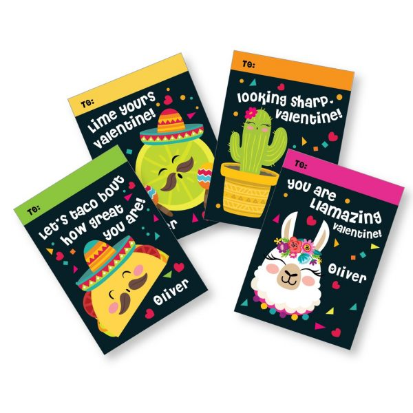 50+ Printable Valentines Day Cards: Taco and Fiesta Printable Valentine's Day Cards from Crazy Fox Paper