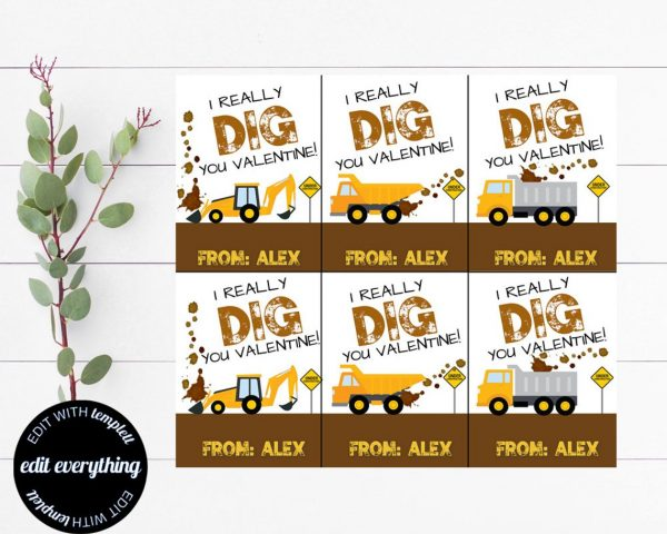 50+ Printable Valentines Day Cards: Trucks and Diggers Printable Valentine Cards from Minted Delights