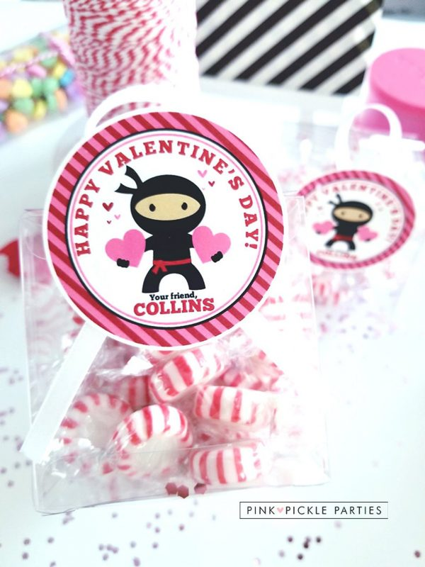 50+ Printable Valentines Day Cards: Valentine Ninja Printable Gift Tags from Pink Pickle Parties