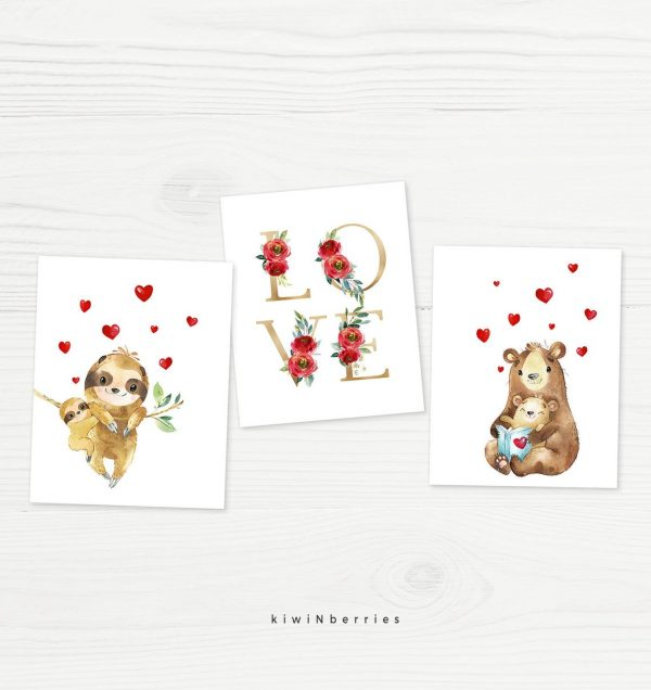 50+ Printable Valentines Day Cards: Watercolor Parent and Baby Animal Valentine Printables from KiwiNBerries