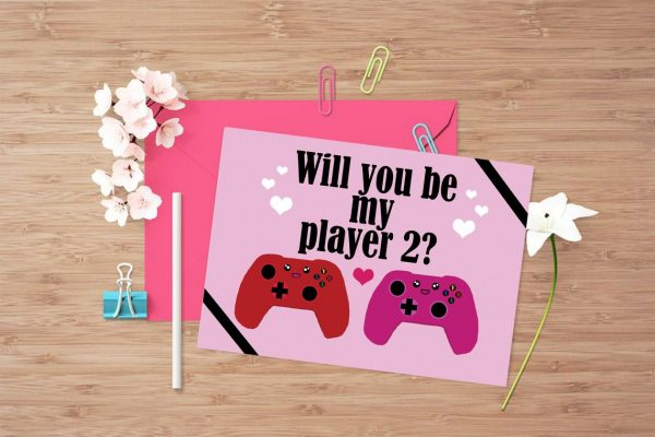 50+ Printable Valentines Day Cards: Will You Be My Player 2 Gaming Printable Valentine Card from Pixie Cove Gifts