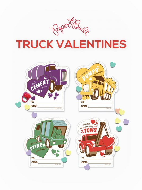50+ Printable Valentines Day Cards: Work Trucks Printable Valentines from Paper Built Shop
