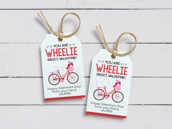 50+ Printable Valentines Day Cards: You Are Wheelie Sweet Valentine Printable Bicycle Valentine's Day Card from Tita Tips Printables