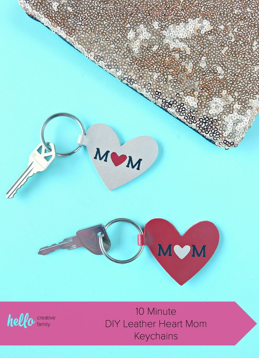 This quick and easy 10 minute Cricut project makes a great handmade gift for mom! Learn how to cut leather using your Cricut and make this DIY Leather Heart Mom Keychain! Includes a cut file as well as step by step photos including how to apply htv to leather! #MothersDay #CricutProject #handmadegift #Mom #Cricut