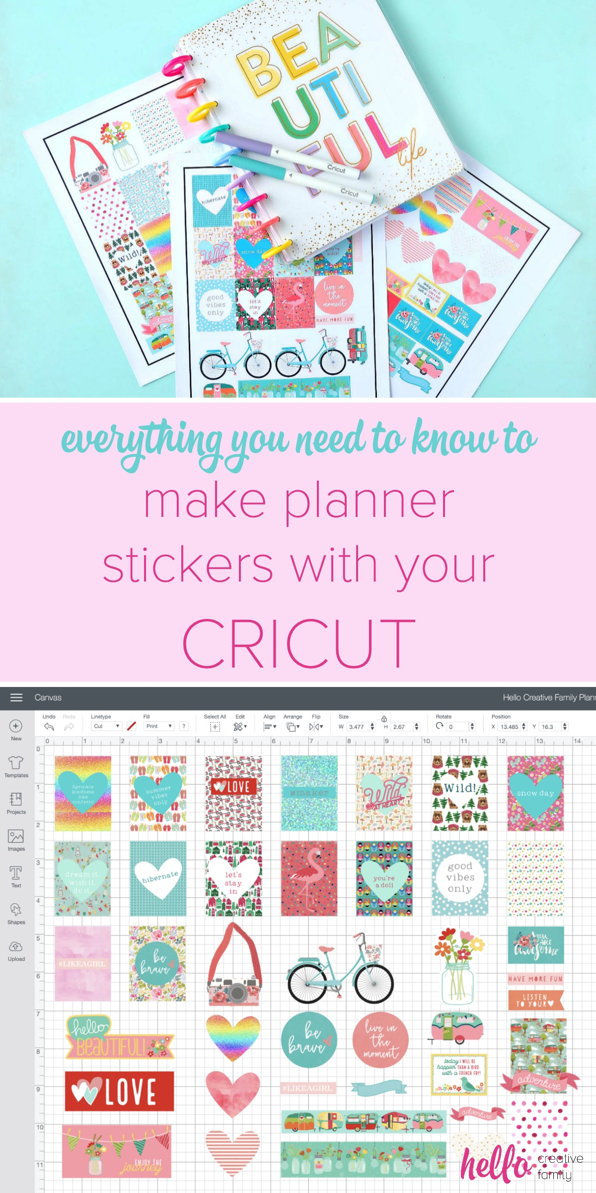 Love planners? Have a Cricut? We're sharing everything you need to know to make DIY planner stickers with your Cricut. With this step by step tutorial we're sharing how easy it is to use the print and cut function in Cricut Design Space to create amazing custom and personalized planner stickers! Perfect for whether you use a Happy Planners, Bullet Journal, Lily Pulitzer or any other planner out there! #Planners #HappyPlanner #Cricut #BulletJournal #PlannerAccessories #PlannerAddict