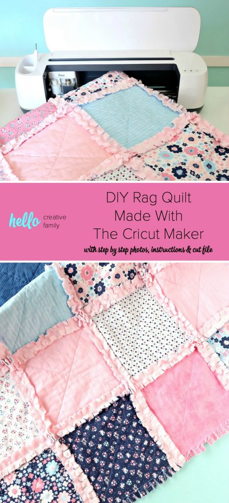Learn how to make a DIY Rag Quilt using your Cricut Maker! Includes step by step photos, instructions, and a cut file for your Cricut! A great tutorial even if you dont have a Cricut! Learn the easiest way to make a rag quilt. Perfect for handmade gifts including baby shower gifts, birthday gifts and Christmas gifts for your friends and family! #RagQuilt #Cricut #CricutMade #CricutMaker #Sewing #Sponsored