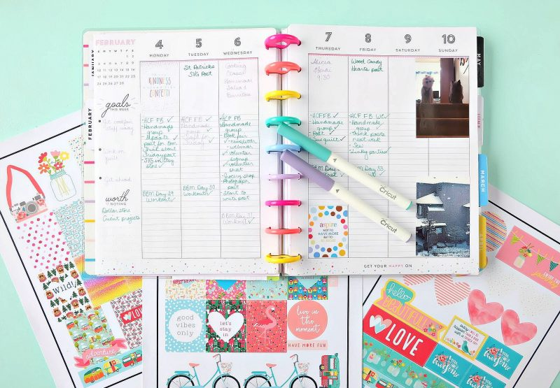 Love planners? Have a Cricut? We're sharing everything you need to know to make planner stickers with your Cricut. With this step by step tutorial we're sharing how easy it is to use the print and cut function in Cricut Design Space to create amazing custom and personalized planner stickers! Perfect for whether you use a Happy Planners, Bullet Journal, Lily Pulitzer or any other planner out there! #Planners #HappyPlanner #Cricut #BulletJournal #PlannerAccessories #PlannerAddict