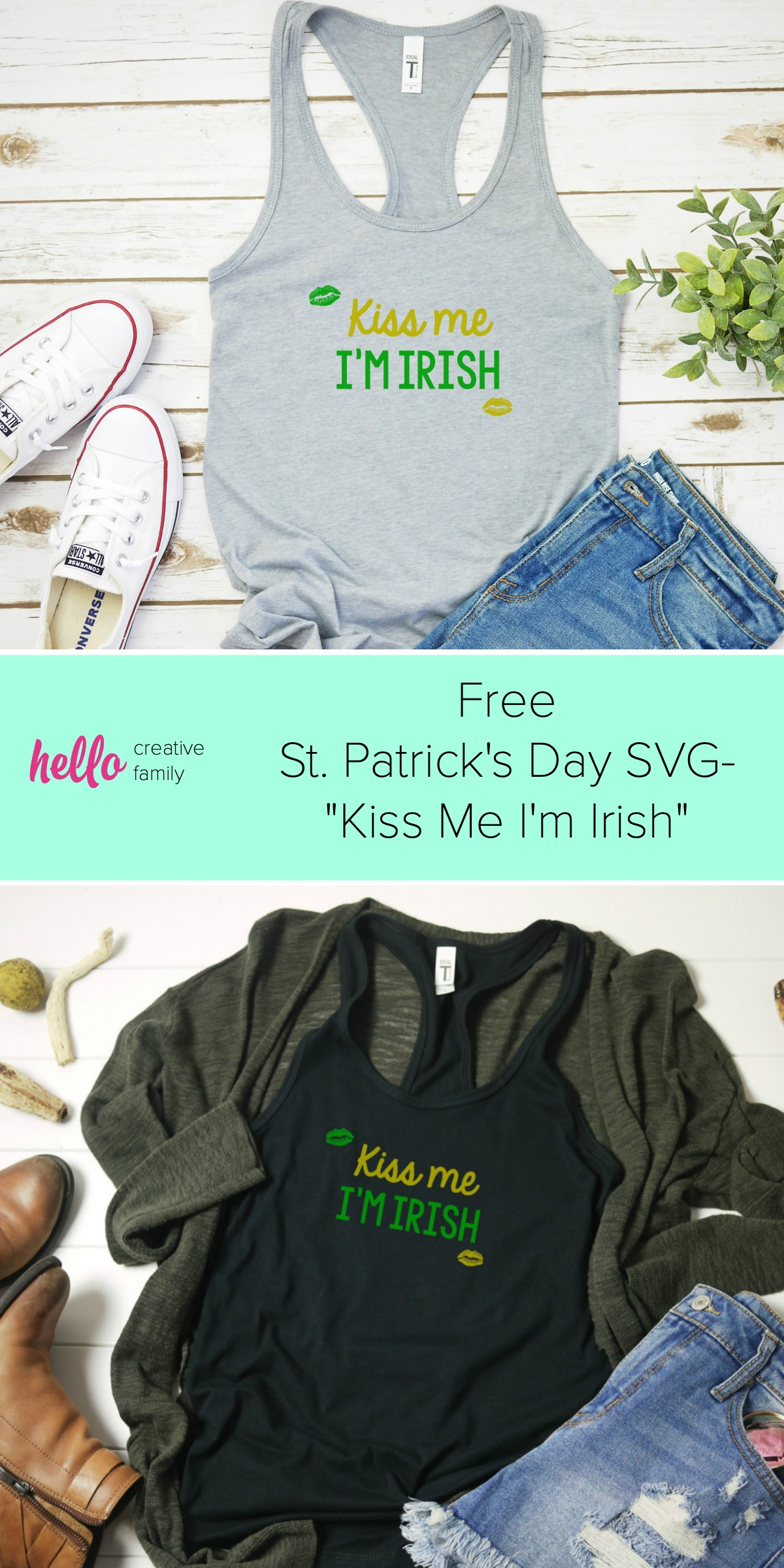 DIY your St. Patrick's Day shirt this year! Pull out your Cricut or Silhouette and get crafting with this easy idea! Use our free St Patricks Day SVG File to cut your own Kiss Me I'm Irish shirt or tank top! #StPatricksDay #StPatricksDayShirt #KissMeImIrish #Cricut #Silhouette