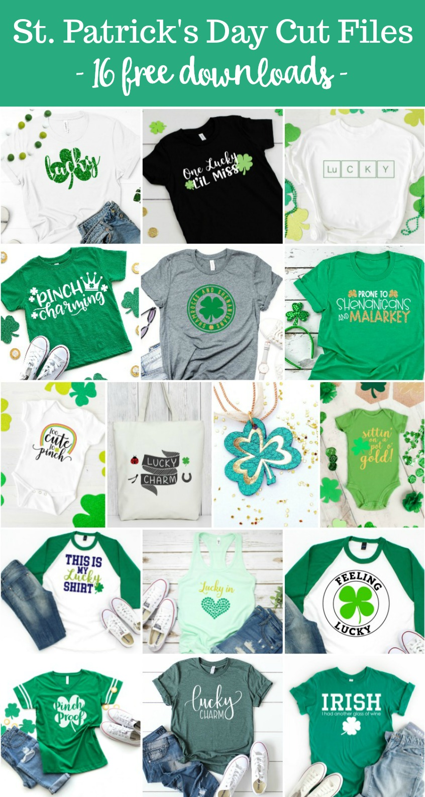 "We're sharing 16 Free St Patricks Day SVG Files including our very own ""Lucky In Love"" cut file. So pull out those Cricuts and Silhouettes and craft up an easy project that is sure to make you pinch proof! #Cricut #Silhouette #StPatricksDay #SVG"