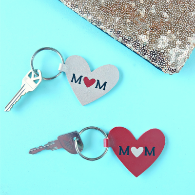10 Minute DIY Leather Heart Mom Keychain