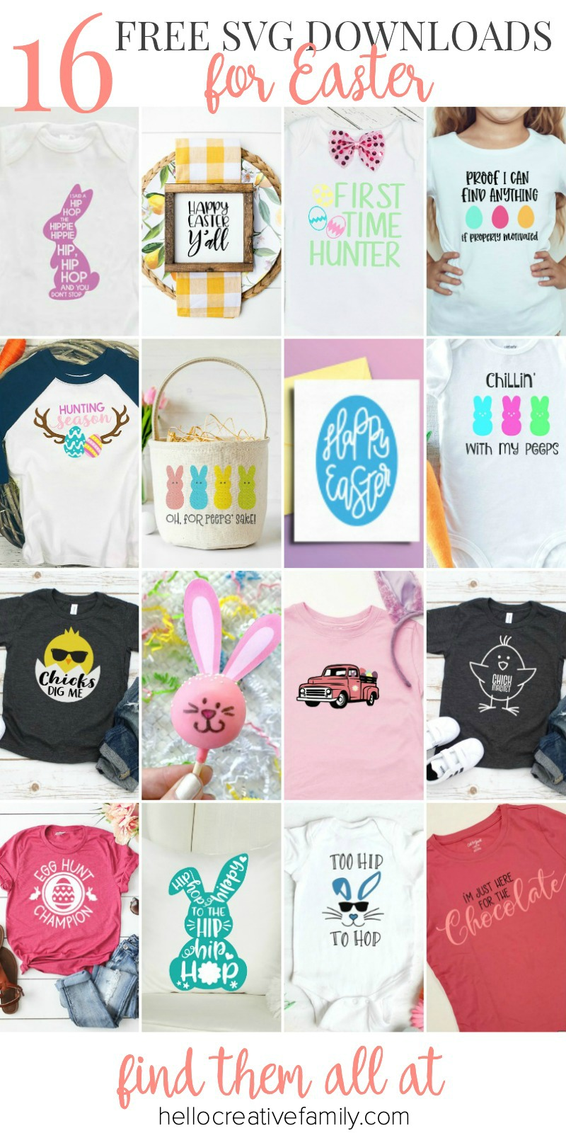 """We're sharing 16 Free Easter SVG Cut Files including our very own """"Chillin' With My Peeps"""" cut file. So pull out those Cricuts and Silhouettes and craft up an easy project! From the Easter Bunny, to adorable chicks, to Easter Eggs and Peeps! We've got your Easter crafting covered! #Cricut #Silhouette #Easter #CutFile #FreeSVG #SVG"""
