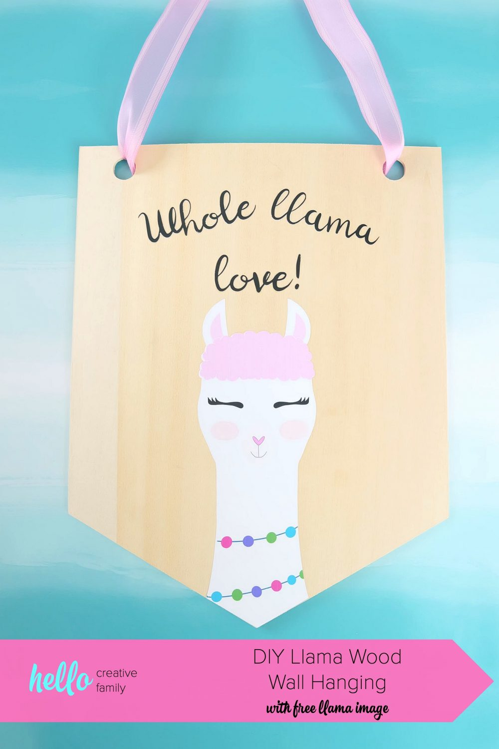 Learn how to cut basswood with your Cricut Maker and make this adorable DIY Llama Wood Wall Hanging featuring a cute Print and Cut llama and the quote Whole Llama Love. This craft would make a sweet handmade gift and would be perfect for decorating a girl's bedroom or as a fun front door decoration. Another amazing Cricut Project from Hello Creative Family. #CricutProject #Cricut #handmade #llama #girlsroom