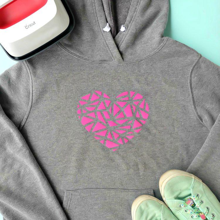 Great Cricut Beginner Project- Easy 10 Minute DIY Geometric Heart Shirt