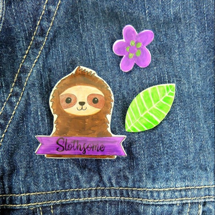 DIY Sloth Pins Made With Shrinky Dinks- With Downloadable Template