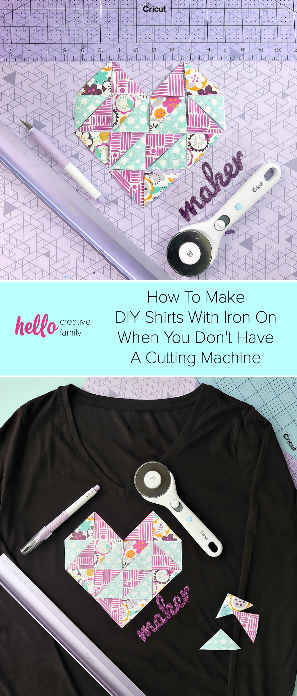 Learn how to make DIY Shirts with Iron On HTV even if you don't have a cutting machine! We share how to make a hand lettered iron on applique as well as a geometric heart design cutting by hand! #CricutMade #DIYShirts #Sponsored #Cricut #HTV