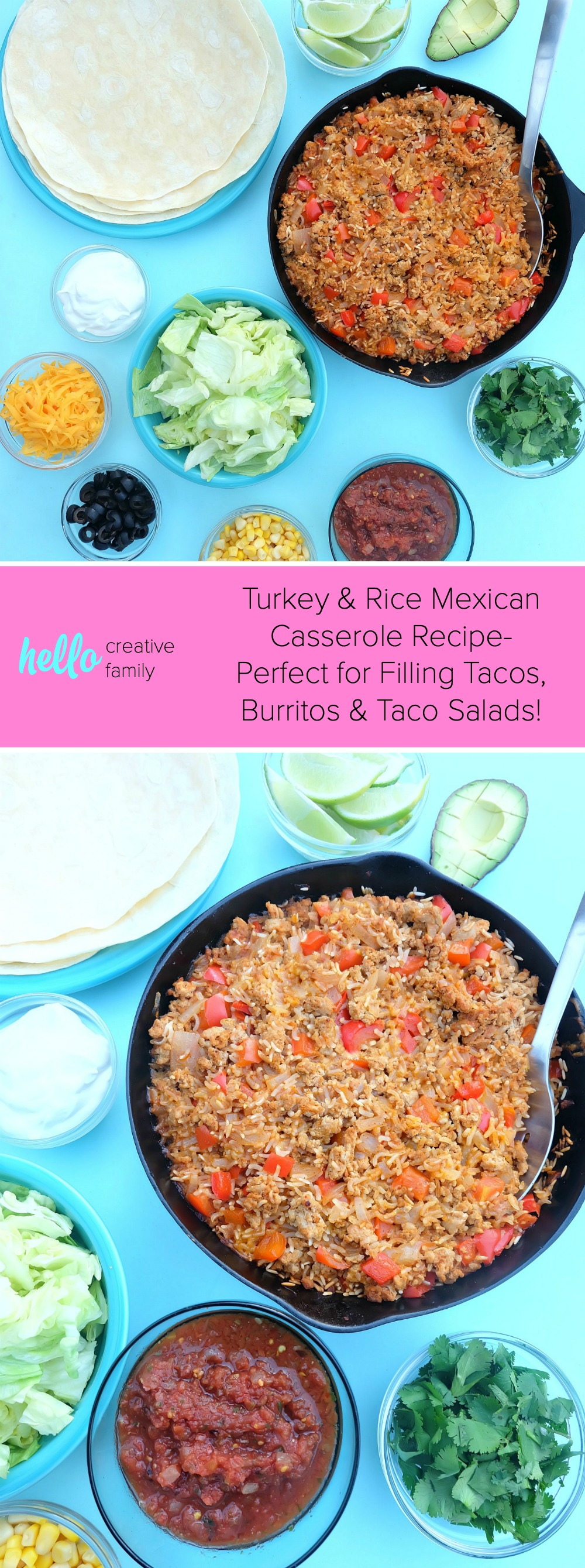 This quick and easy family friendly ground turkey and rice Mexican casserole recipe is a healthy one pan meal that takes 10 minutes to prep! Perfect for feeding a crowd or for multiple meals. Use it as a filling for tacos, burritos or as a topping for taco salad! #MakeItWithTurkey #Recipe #MexicanFood #Turkey #OnePan #sponsored