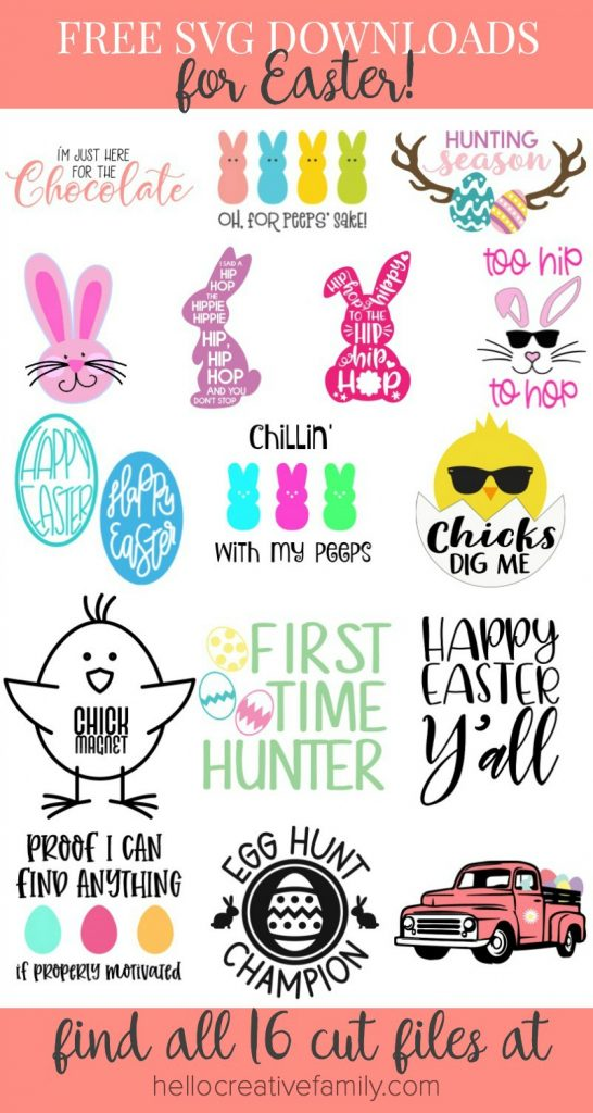 "We're sharing 16 Free Easter SVG Cut Files including our very own ""Chillin' With My Peeps"" cut file. So pull out those Cricuts and Silhouettes and craft up an easy project! From the Easter Bunny, to adorable chicks, to Easter Eggs and Peeps! We've got your Easter crafting covered! #Cricut #Silhouette #Easter #CutFile #FreeSVG #SVG"
