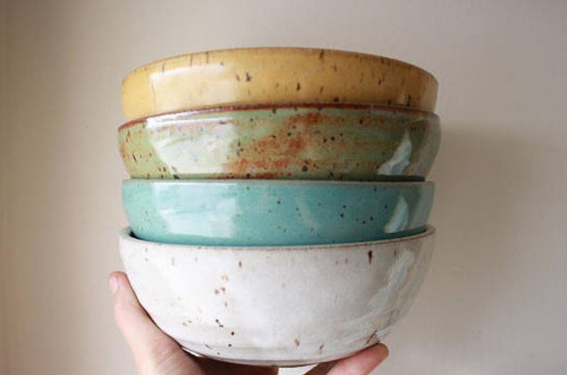 Shop Handmade Mother's Day Gift Ideas For Mom: Custom Made To Order Cereal Bowls from KJ Pottery