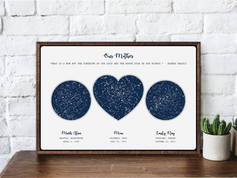 Shop Handmade Mother's Day Gift Ideas For Mom: Custom Night Sky On The Night You Were Born Artwork from Our Love Was Born