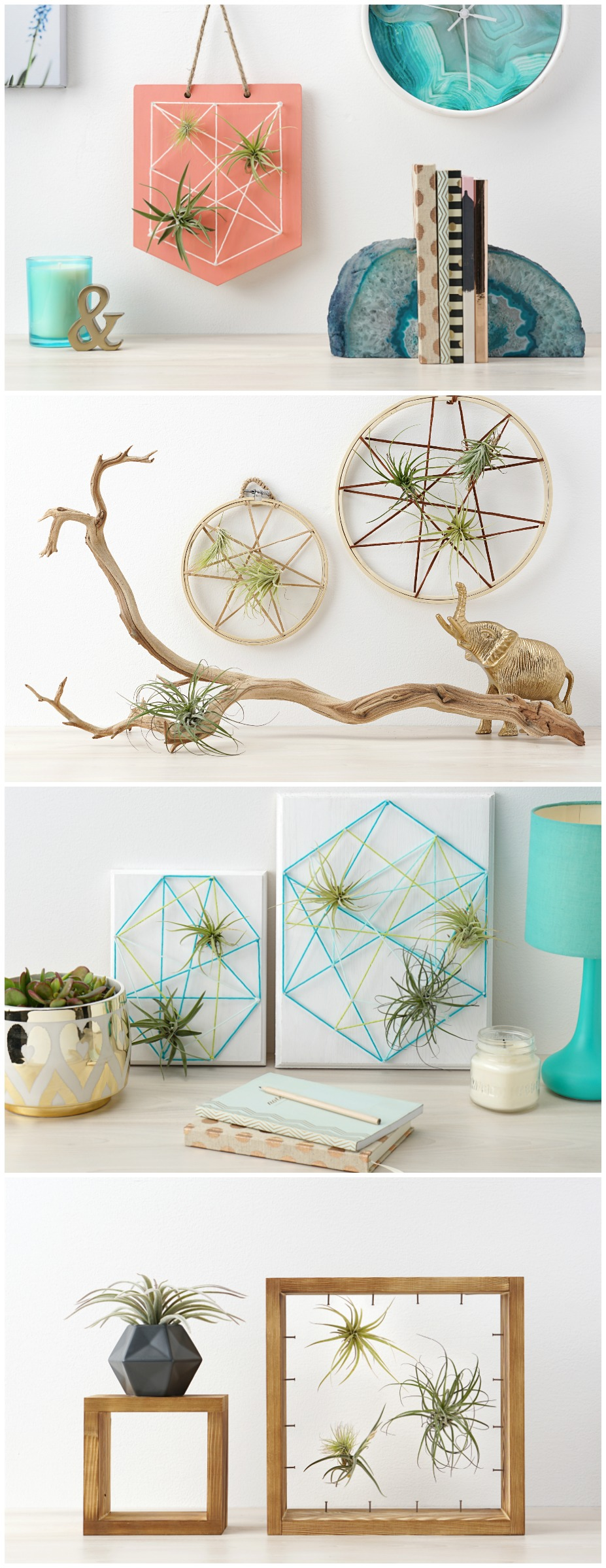 Looking for an easy but beautiful handmade gift that's perfect for just about any occasion? Housewarming gifts, graduation gifts, teacher gifts, wedding shower gifts, Mother's Day gifts, etc? We're combining two of our favorite things-- air plants and string art to create one amazing project! Check out our DIY Air Plant String Art Tutorial to learn how to make this awesome home decor piece that's easy and low maintenance to care for! #AirPlants #StringArt #DIY #Crafts