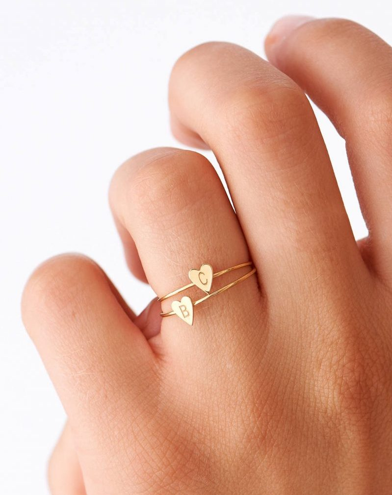 Shop Handmade Mother's Day Gift Ideas For Mom: Dainty Heart Initial Rings from Blushes and Gold
