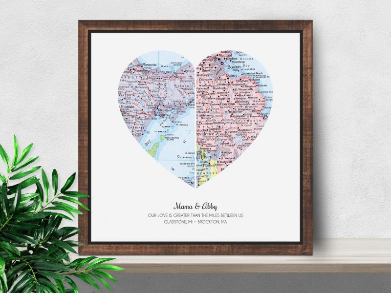 Shop Handmade Mother's Day Gift Ideas For Mom: Mom and Child In Different Cities Map Artwork from Sole Studio