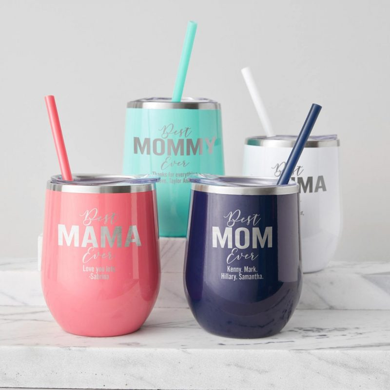 Shop Handmade Mother's Day Gift Ideas For Mom: Personalized Best Mom Ever Wine Tumblers from Lifetime Creations