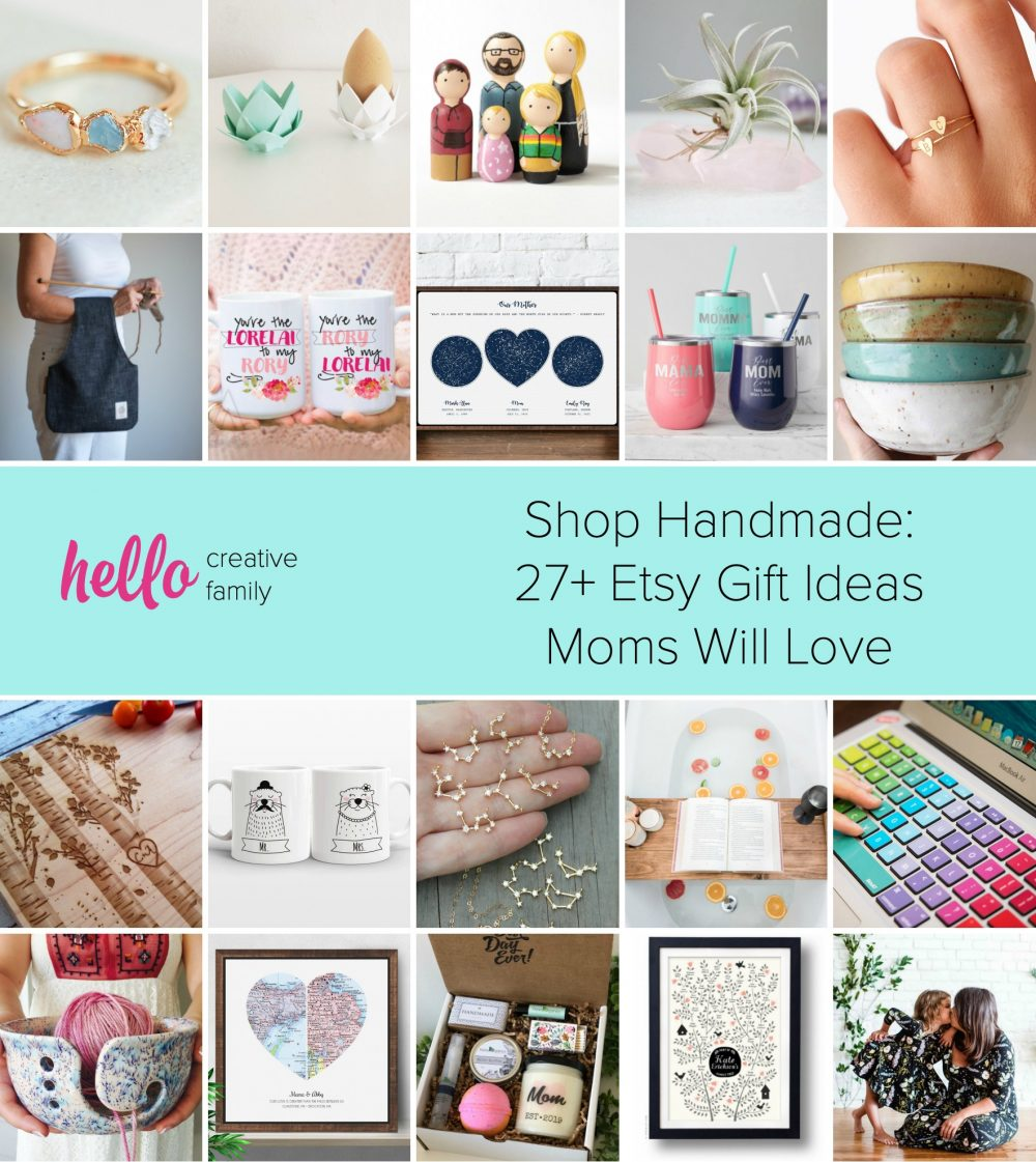 Shop Handmade: 27+ Etsy Gift Ideas Moms Will Love- Looking for an amazing Mothers Day, birthday or Christmas gift for mom? Check out these unique gift ideas from Etsy sellers that moms will love! #Handmade #ShopHandmade #MothersDay #Etsy
