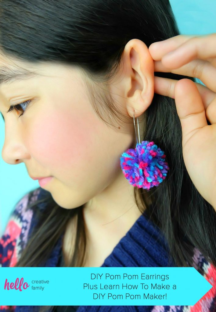 DIY Pom Pom Earrings Plus Learn How To Make A DIY Pom Pom Maker.