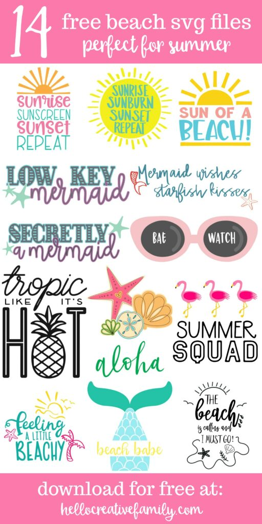 "We're sharing 14 Free Beach SVG Cut Files including our very own ""The Beach Is Calling And I Must Go"" cut file. So pull out those Cricuts and Silhouettes and craft up an easy project! Whether you vacation at the lake, river or ocean, we've got the cutest designs for your summer tank tops, shirts, beach bags and more! #Cricut #Silhouette #Easter #CutFile #FreeSVG #SVG"