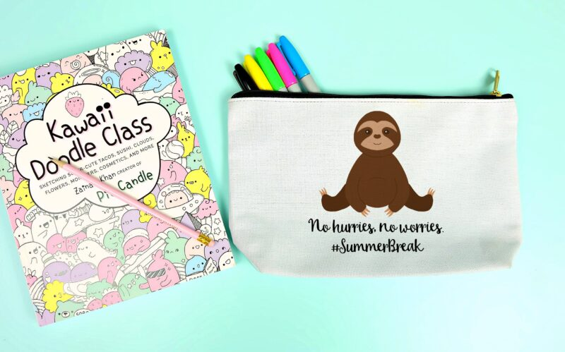 Use our adorable free summer break sloth cut file to make a tote bag, zippered pouch or tank top that's perfect for summer! We're sharing the free cut file along with step by step instructions on how to use the Cricut Print & Cut feature. The perfect handmade gift idea for sloth lovers! #Cricut #Sloth #Summer #Crafts