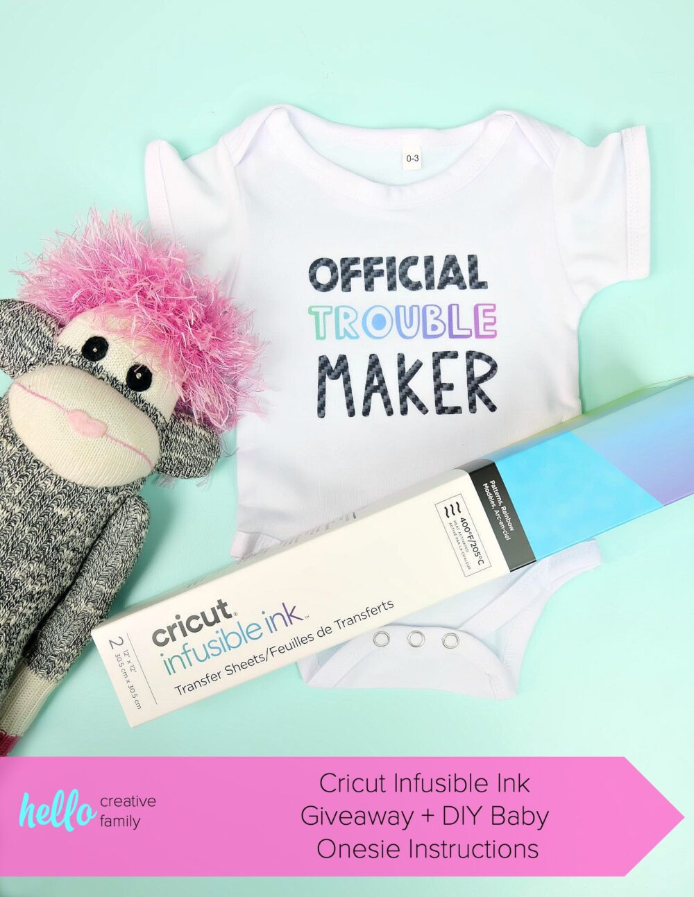 Win a Cricut Infusible Ink Giveaway plus a $100 Michaels Gift Card. Contest Closes 6/30/2019 and is open to US and Canadian Residents. Learn how to use Cricut Infusible Ink to make this adorable DIY baby onesie! It's an easy craft idea that makes a super cute handmade baby gift! #Giveaway #Contest #Cricut #InfusibleInk