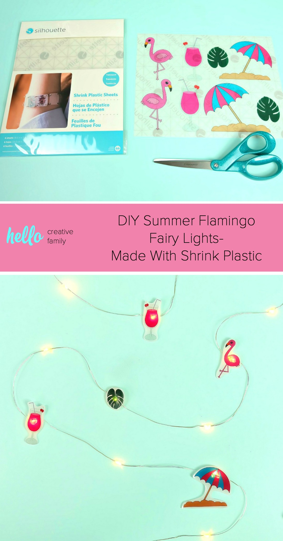 photo about Printable Shrink Plastic identified as Do-it-yourself Summer time Flamingo Fairy Lighting- Created With Shrink Plastic