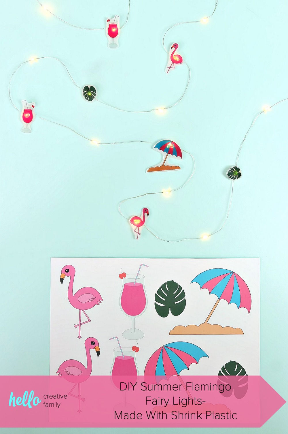 Create an adorable set of DIY Summer Flamingo Fairy Lights using shrink plastic (aka Shrinky Dinks) and our free summer flamingo printable. Perfect for summer decor or tropical themed luau birthday parties! Fun and oh so easy to make! #ShrinkyDinks #Flamingo #SummerCrafts #DIY