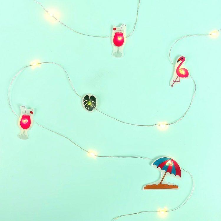 DIY Summer Flamingo Fairy Lights- Made With Shrink Plastic