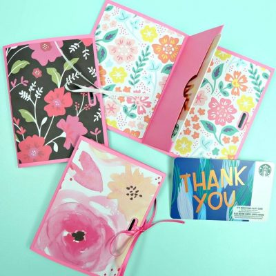 Add a handmade touch to gift cards for birthday's, teacher gifts, shower gifts, party favors or wedding presents with these easy DIY gift card holders! Make this paper craft in minutes using your favorite scrapbook paper and your Cricut! A quick and easy handmade gift idea! #papercrafts #Cricut #CricutMade #giftcards
