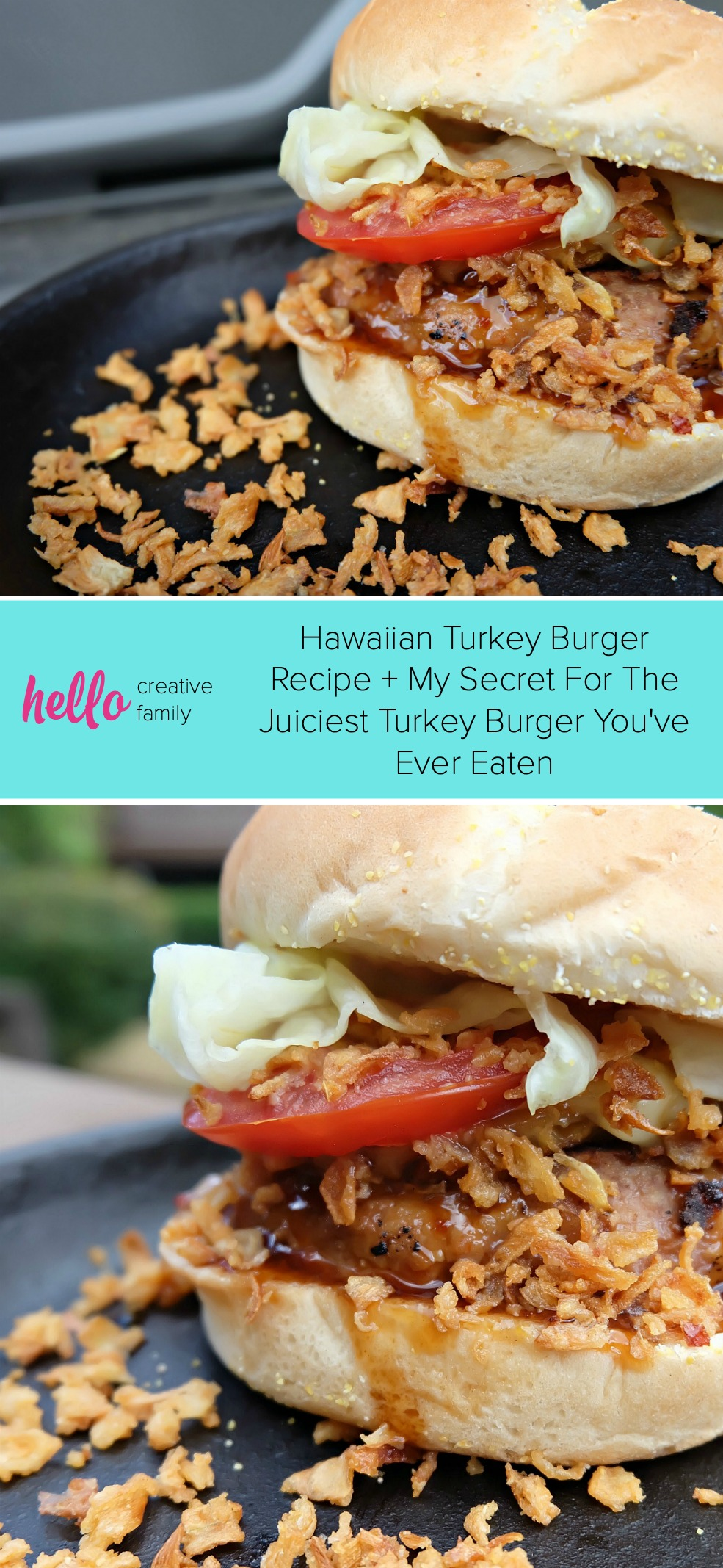 Fire up the BBQ and get out of the hot kitchen! We're sharing with you the best burger recipe you've ever tasted-- Our Hawaiian Turkey Burger Recipe. We're also sharing our secrets for making the juiciest turkey burger you've ever eaten. Juicy, flavorful and healthy you'll feel good about feeding this easy meal to your family! #Turkey #Burger #HawaiianFood #Recipe #Sponsored