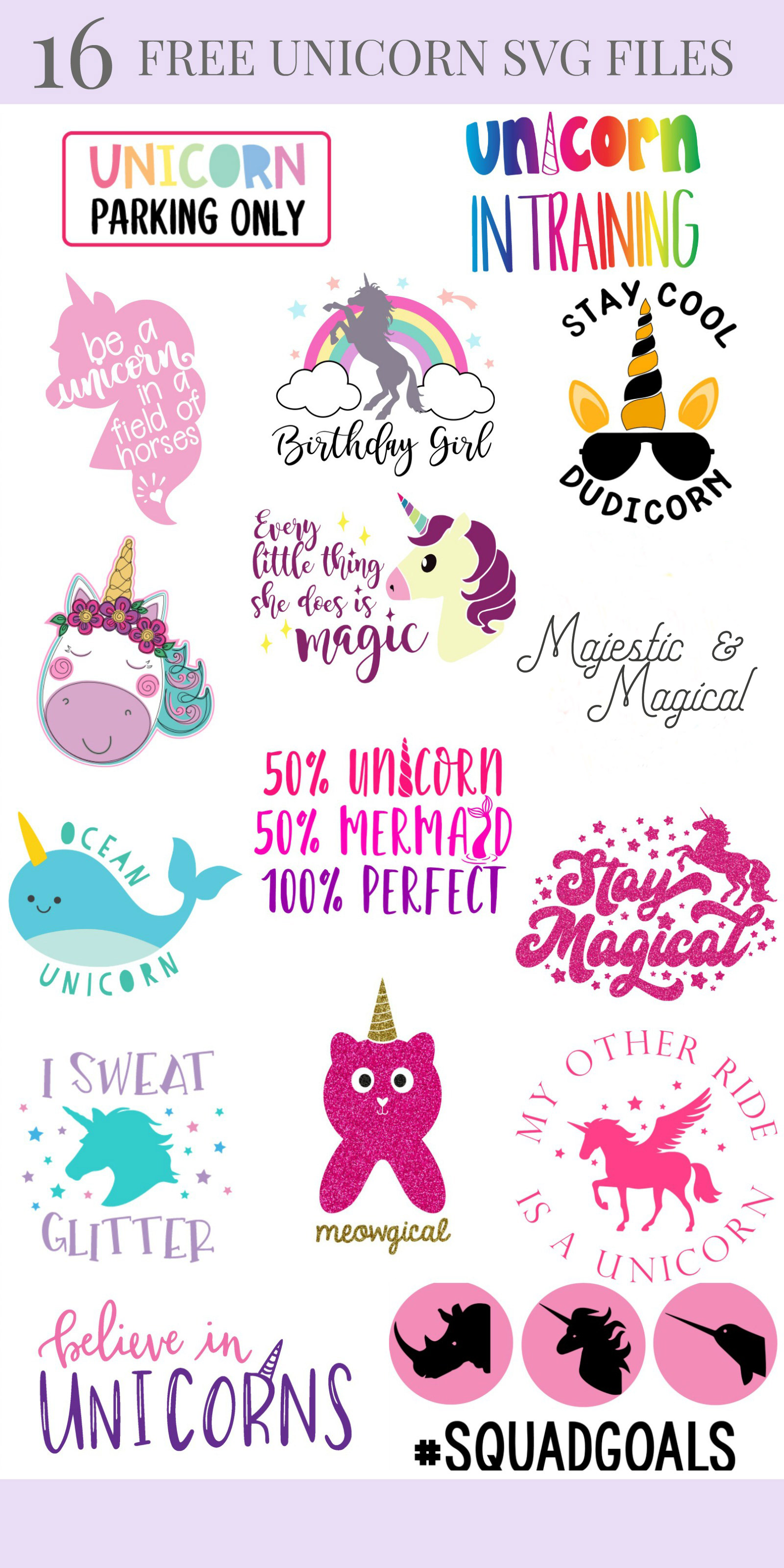 We're sharing 14 Free Unicorn SVG Cut including our very own Meowgical Caticorn cut file. So pull out those Cricuts and Silhouettes and craft up an easy project! Perfect for unicorn themed birthday parties, unicorn shirts and unicorn room decor! #Cricut #Silhouette #unicorn #CutFile #FreeSVG #SVG