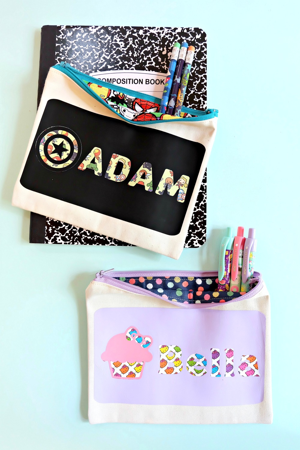 DIY Personalized Pencil Pouches Made Using The Cricut Maker featuring Hello Kitty and Kawaii Avengers. #Sewing #BackToSchool #CricutMade #CricutCreated #Sponsored