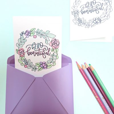 Hello Beautiful DIY Coloring Card