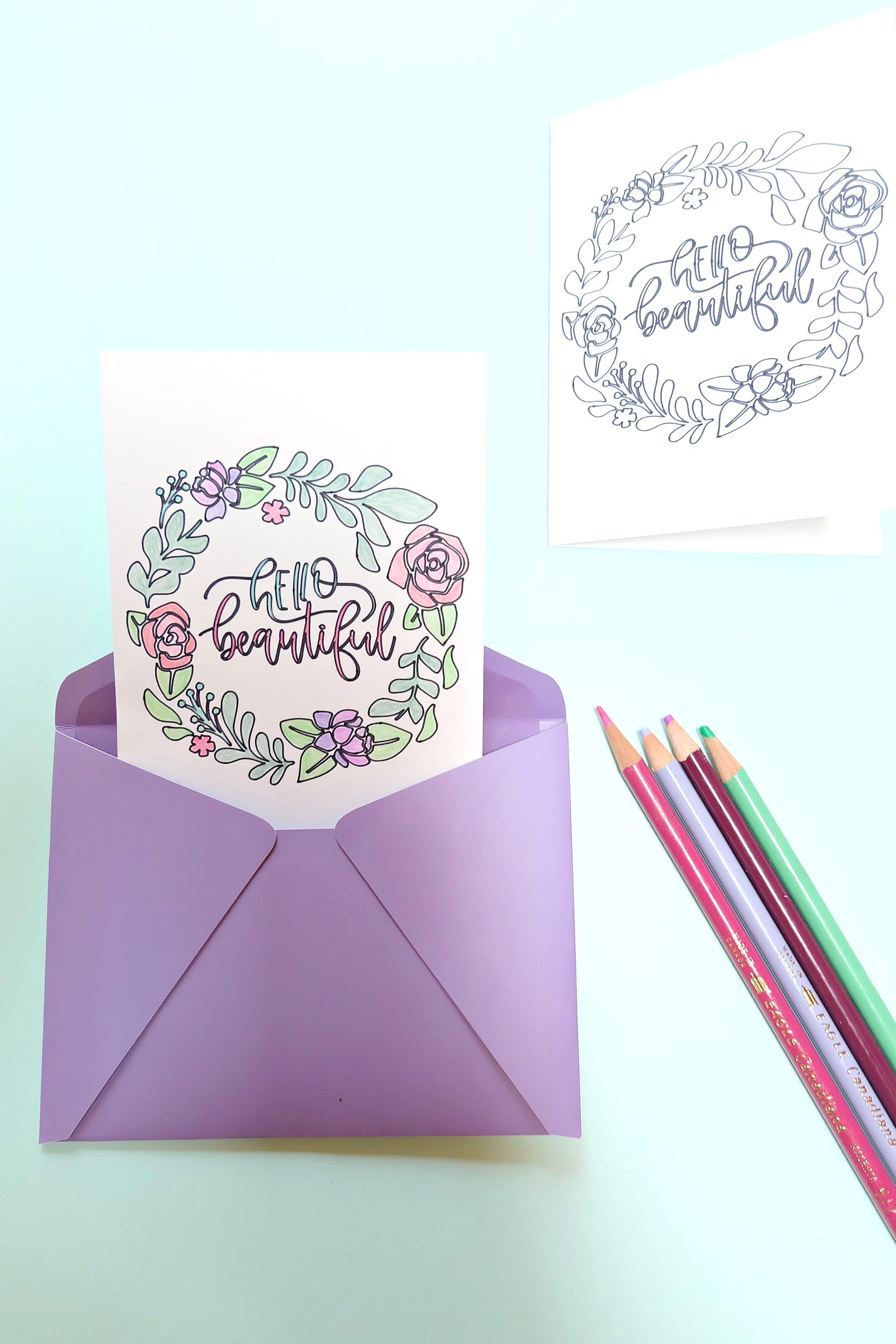 Hello Beautiful DIY Coloring Card + Giveaway - Hello