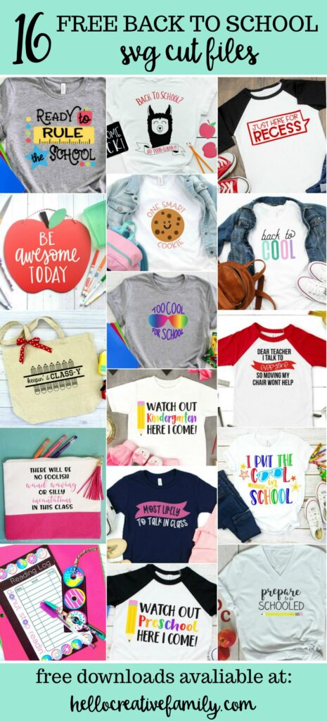 """Whether you are looking for a DIY first day of school outfit, or an awesome handmade teacher gift-- we've got you covered! We're sharing 16 free back to school svgs including our own """"Back to school? No Prob-llama"""" cut file! So pull out those Cricuts and Silhouettes and craft up an easy project! #Cricut #Silhouette #BackToSchool #Teacher #CutFile #FreeSVG #SVG"""