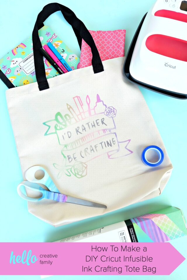 "Make a gorgeous rainbow ""watercolor"" craft tote bag using Cricut Infusible Ink that says ""Id rather be crafting!""! We're sharing all the tips and tricks that you need to know to use Cricut Infusible Ink! Follow along as we share step by step instructions for this fun and easy craft project! #CricutMade #crafting #infusibleink #sponsored"