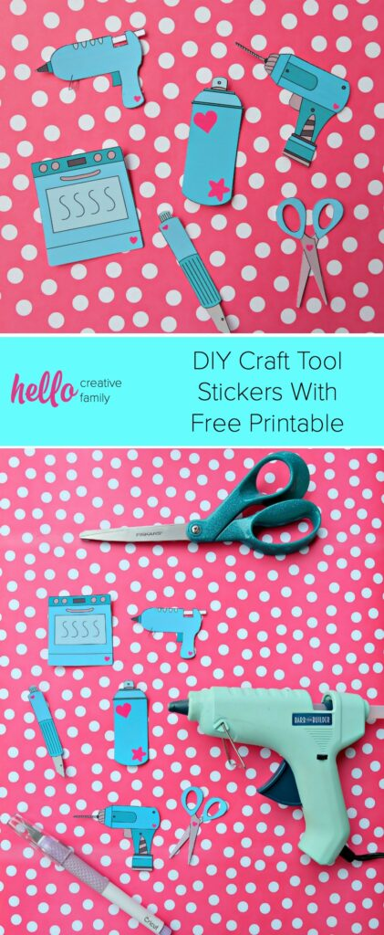 Learn how to create adorable DIY Craft Tool Stickers and get the free printable that you can cut using your Cricut and the print and cut feature! #Cricut #CricutMade #CraftingTools #Printable