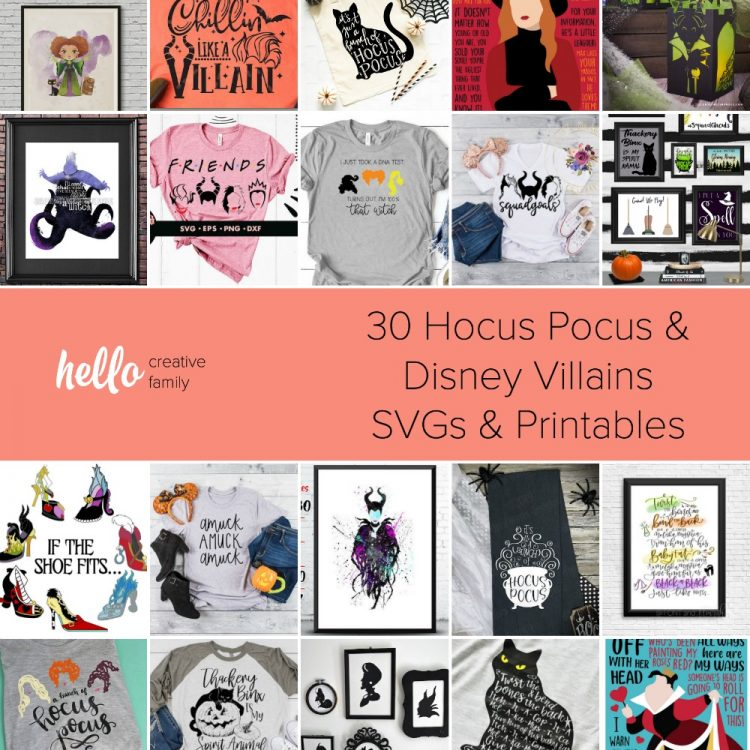 Get your Halloween crafting on! We're sharing 30 of our favorite Hocus Pocus and Disney Villains SVGs and Printables so you can make fun and easy crafts for Halloween! Featuring the Sanderson sisters, Thackery Binx, Ursula Maleficent, The Queen of Hearts and more! #DisneyVillains #HocusPocus #HalloweenCrafts #Cricut #Silhouette