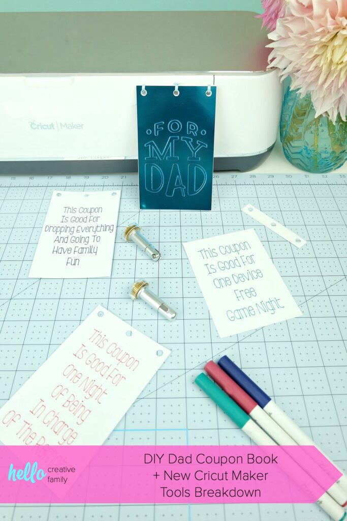 Learn how to make a DIY Dad Coupon Book using your Cricut Maker Adaptive Tools! This handmade gift is the perfect gift for Dad for Father's Day, birthdays or Christmas! #CricutMaker #DadGift #handmadegift #GiftForDad #CricutCreated #sponsored