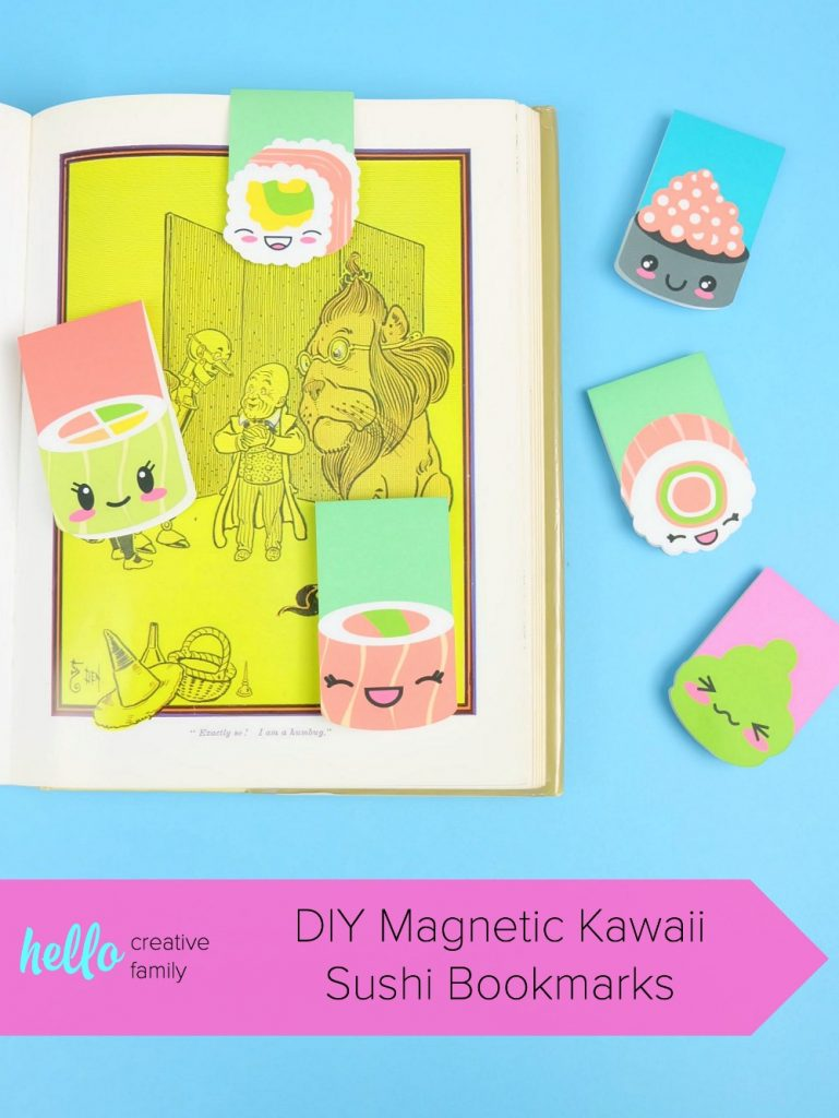Create DIY Magnetic Kawaii Sushi Bookmarks in minutes with this quick and easy craft! Use your Cricut Maker or Cricut Explore Print and Cut Feature to make this adorable project that's perfect for inexpensive stocking stuffers and party favors! #Kawaii #KawaiiCrafts #CricutMade #CricutCreated